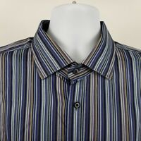 Thomas Dean Mens Blue Brown Multi Color Striped L/S Dress Button Shirt Sz 2XL