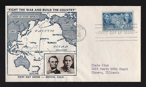 1942 FDC US SC#906 7/7/1942 CHINESE RESISTANCE MAILED CROSBY CACHET