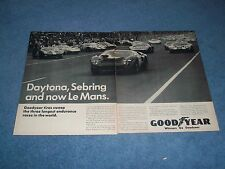 "1966 Goodyear Pneumatici Vintage 2pg ad Ford Gt40 "" Daytona,Sebring And Now"
