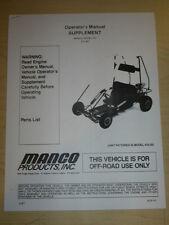 Manco Model 415-301 Go Kart Parts List Operators Manual Cart