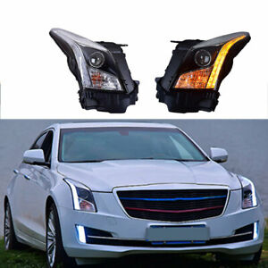Headlight Assembly For Cadillac ATS 2013-2019 HID Xenon Beam Projector LED DRL