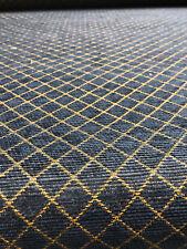 Fabricut Reston Navy Gold Diamonds Chenille upholstery Fabric by the yard