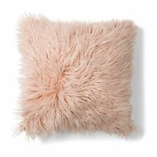 SET 2 Faux Fur Cushion Pillow Soft Fluffy Blush PINK 50x50cm Home Decor