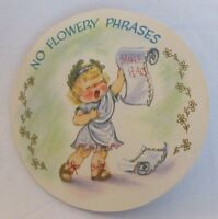 FLYING SAUCERS BIRTHDAY CARD Vintage Blonde Girl Daisy Gold Embossed Die Cut
