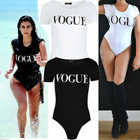 Women Ladies Girls Celeb inspired Vogue Print Short Sleeve Bodysuit Top 8 -14