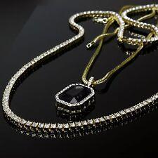 "14k Gold Clear Cz 1 Row Tennis Chain 30"" & Simulated Black Ruby w 3mm 24"" Franco"