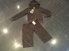 """NWT Juicy Couture New & Genuine Girls Age 8 Brown Cotton Tracksuit With """"J"""" Pull"""