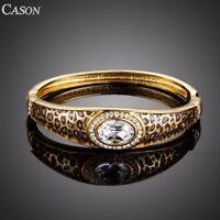 Fashion Leopard Pattern Austrian Crystal Cuff Bangle 18k Gold Plated Bracelet