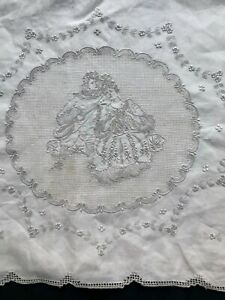 """Antique figural  Appenzell embroidery Twin linen sheet 70 x 96"""" French couple"""