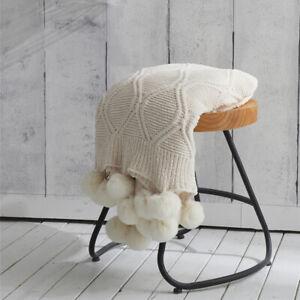 Luxury Chunky Chenille Knitted Sofa Bed Throw Blanket Pom Pom Tassel 130x160cm