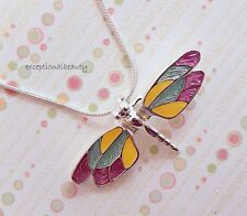 "Bright Silver Enamel Dragonfly Pendant Moving Wings 16"" Snake Chain Necklace"