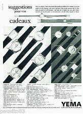 PUBLICITE ADVERTISING 016  1964  YEMA INTERNATIONAL  montres 2