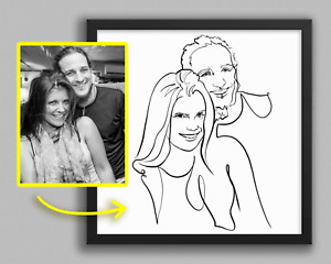 Valentine's Day Gift for Him or Her - Custom LINE ART portrait commission