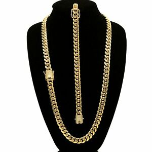 Cuban Link Necklace and Bracelet Set Gold Plated With Cubic Zirconia Box Clasp