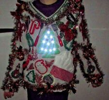 Mens Ugly TACKY Christmas Sweater XL Lights Office Party Winner Snowman WOMENS