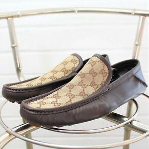 Vintage Gucci Web Monogram Loafers Brown Slip On 37190 Made in Italy Size 8.5
