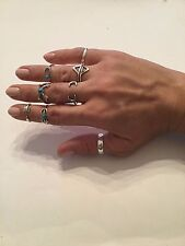 Trending Unique Turquoise Silver Knuckle Rings Set