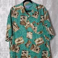 Mens Size Large BERMUDA BAY Teal Green Silk Tropical Hawaiian SS Button Shirt