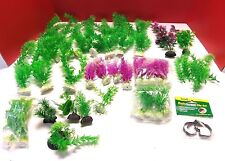 Lot of Aquarium Plastic Plant Decorations Mixed Sizes Over 30 Pieces Screen Clip