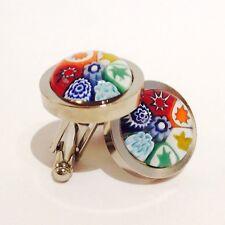 Rainbow Flower Murano Millefiori Round Glass & Silver Inlay Chunky Cufflinks.