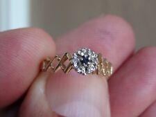 14KT  RING OF NATURAL DIAMONDS  & GENUINE SAPPHIRE