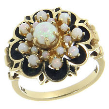 Beautiful Vintage 14K 14 Karat Yellow Gold Opal Cluster Cocktail Ring