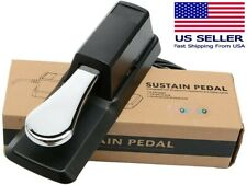 Sustain Keyboard Foot Damper Silver Pedal With Polarity Switch For Casio Roland.