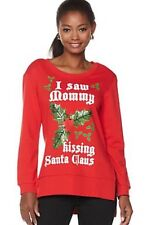 "New $49 RED CHRISTMAS SWEATSHIRT ""I Saw Mommy Kissing Santa Claus"" Size S"