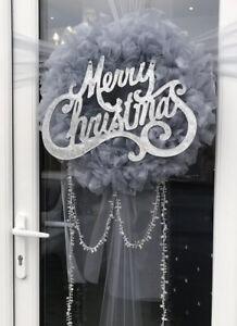 Festive Silver Grey  Ribbon Ruffle Ribbon Wreath* Christmas...  Door Bow