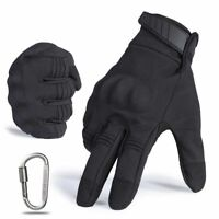 Motorcycle Gloves Black PU Leather Hard Knuckle Full Finger Protective Gear New