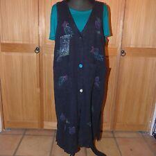 BLACK LINEN LONG OVER DRESS HAND STAMPED SZ MEDIUM 2 POCKETS BUTTON DOWN FRONT