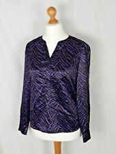 Oscar B Top Purple and Black Zebra Print Size Large 40 inch Chest 16