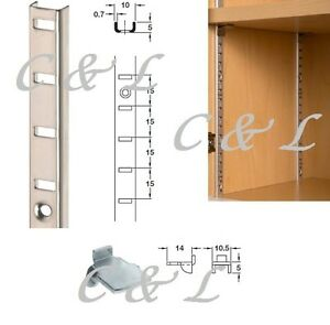 Shelving Strips, Shelf Supports Clips 10x5mm Recess or Surface various lengths
