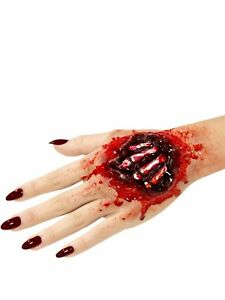 Hand Bones Halloween Fake Prosthetic Latex Joke Scar Fancy Dress Zombie Make Up
