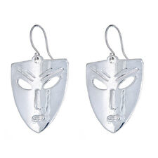 Solid .925 Sterling Silver African Mask Earrings (Made in USA)