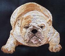"Embroidered Quilt Block Panel ""English Bulldog Dog"" Black Linen Fabric"