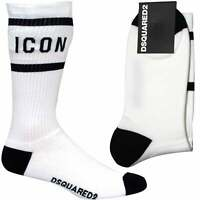 DSquared2 ICON Logo Men's Sports Socks, White/black