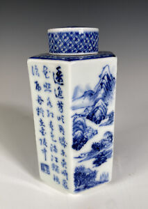 Rare Japanese Porcelain B&W Tea Caddy with Calligraphy and Landscapes Signed