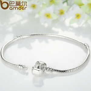 Bamoer Christmas European 925 Silver Bracelets Fit Murano Bead DIY Charm Jewelry