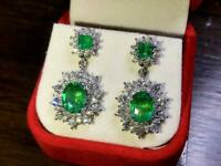 Huge 16.4TCW Sparkling Emeralds & Cubic Zirconia Handmade Drop Earring In 925 SS