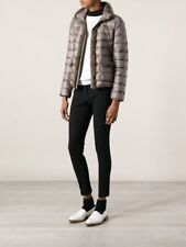 NWT Moncler Temple Padded Jacket BROWN Turtleneck Fur Trim Pockets Sz 0 SOLD OUT