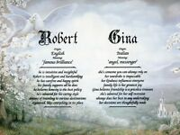 """Wedding"" Double Name Meaning Print Personalized (Love, Romance, Marriage)"