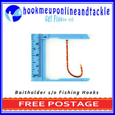 100 x Size 1/0 Red Bait Holder Hooks Saltwater Freshwater Fishing Tackle Bulk