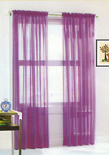 """40 X 84"""" TRACY Sheers Panels Curtains SOLID PURPLE VOILE NEW IN BAG"""