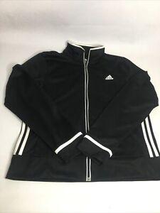 Women Adidas Track Jacket Full Zip Black w/White Stripes Sz Large L Pockets
