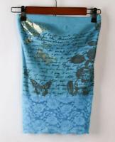M.K.M Lace Halter Top Blouse Shirt Womens SZ Small Blue
