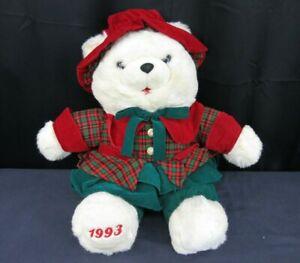 "1993 K-Mart Christmas Cream Teddy Bear Plush Girl 24"" Plaid Top Green Red Vtg"