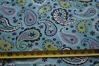 "26"" Long, Yellow Pink Olive & White Paisley on Mini-Wale Corduroy Fabric, N4738"