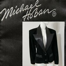 Vtg 80s Michael Hoban North Beach Leather Suede Jacket Black Blazer Women Sz M L