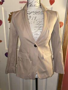NWT  Ann Taylor Petite Khaki Button Long Sleeve Suit Blazer Jacket Size 00P